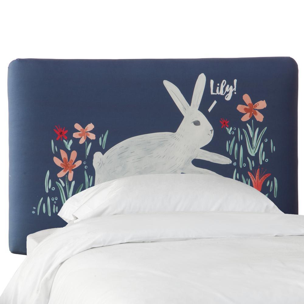 Bunny Mg Navy Queen Upholstered Headboard