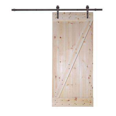 36 in. x 84 in. Unfinished Knotty Pine Wood Barn Door with Classic Bent Strap Black Sliding Door Hardware Kit