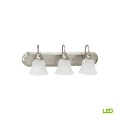 Windgate 3-Light Brushed Nickel Bath Light with LED Bulbs