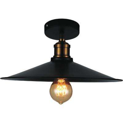 Brave 1-Light Black Semi-Flush Mount