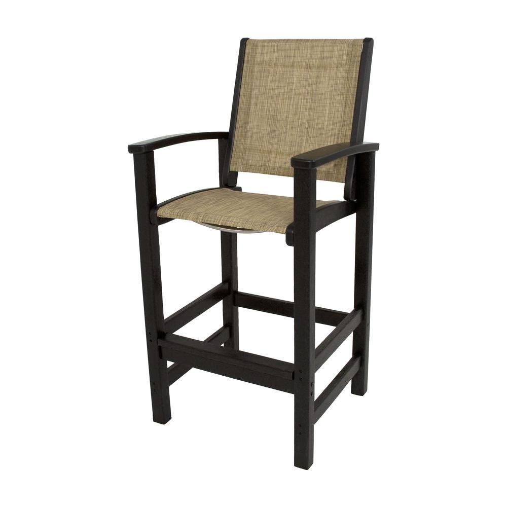 POLYWOOD Black/Burlap Sling Coastal Patio Bar Chair