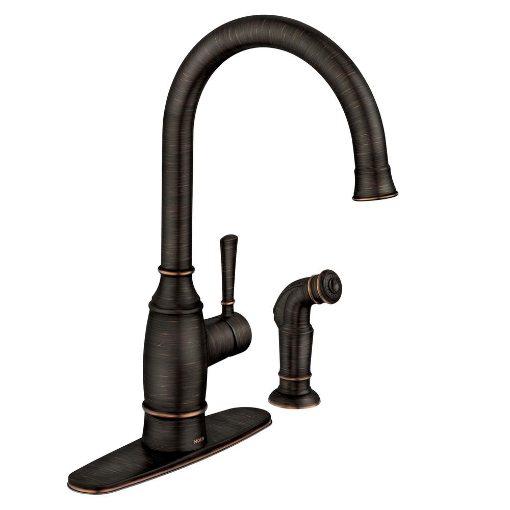 Moen Noell Single Handle Standard Kitchen Faucet With Side Sprayer In Mediterranean Bronze