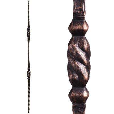 Tuscan Square Hammered 44 in. x 0.5625 in. Oil Rubbed Bronze Double Twisted Knuckle Solid Wrought Iron Baluster