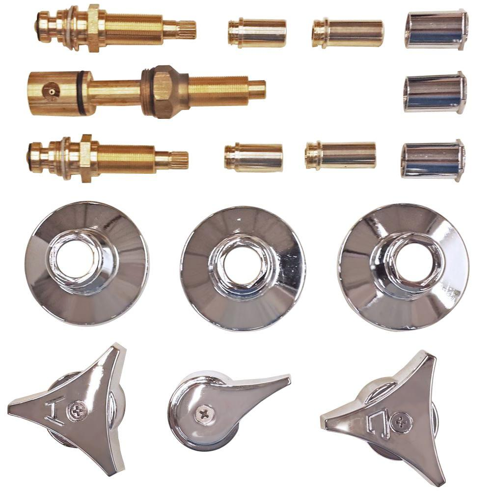 Binford 3 Valve Rebuild Kit for Tub and Shower with Chrome Handles for Union Brass