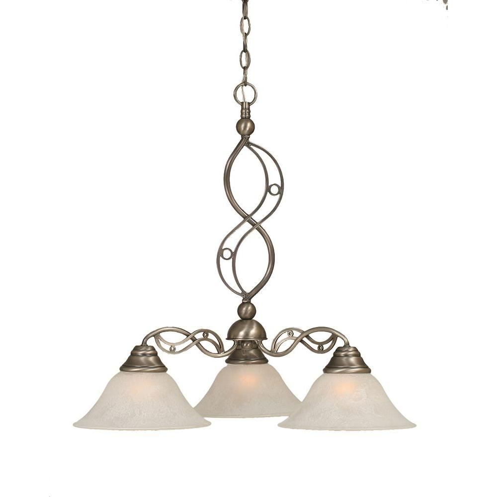 Concord Series 3-Light Brushed Nickel Chandelier with White Shade