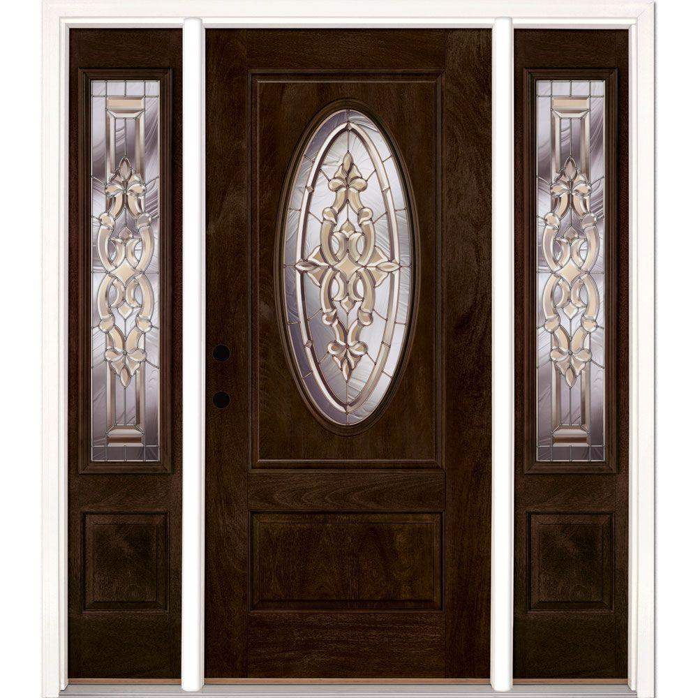 Feather River Doors 67.5 in.x81.625in.Silverdale Zinc 3/4 Oval Lt Stained Chestnut Mahogany Rt-Hd Fiberglass Prehung Front Door w/ Sidelites