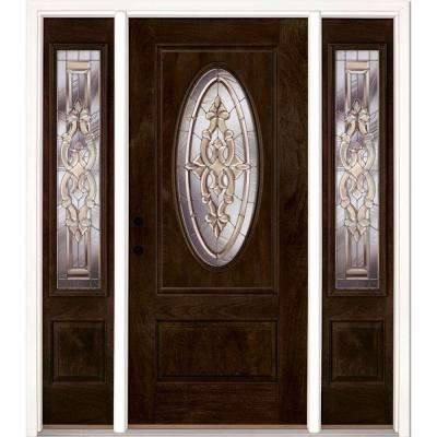 67.5 in.x81.625in.Silverdale Zinc 3/4 Oval Lt Stained Chestnut Mahogany Rt-Hd Fiberglass Prehung Front Door w/ Sidelites