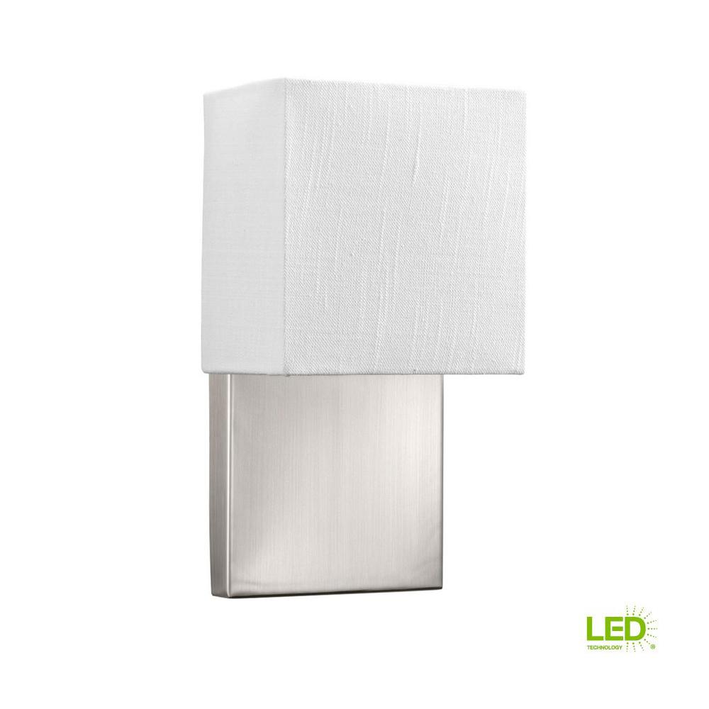Progress lighting led wall sconces collection 9 watt brushed nickel integrated led wall sconce with white linen shade