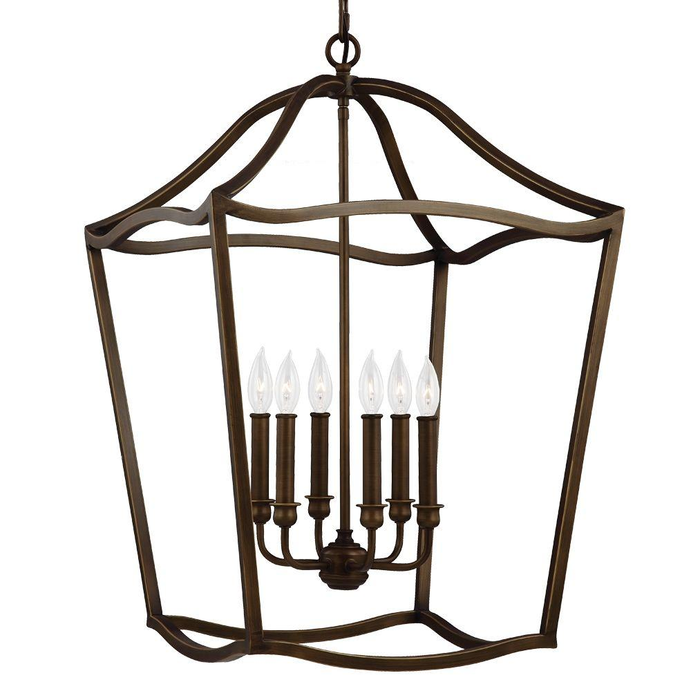 Feiss Yarmouth 6-Light Painted Aged Brass Hall Fixture  sc 1 st  Home Depot & Feiss Yarmouth 6-Light Painted Aged Brass Hall Fixture-F2976/6PAGB ... azcodes.com