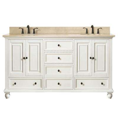 Thompson 61 in. W x 22 in. D x 35 in. H Vanity in French White with Marble Vanity Top in Galala Beige with Basin