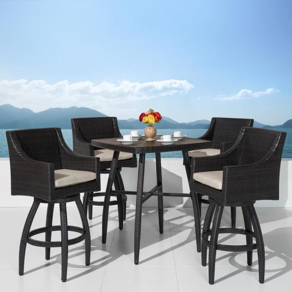 Rst Brands Deco 5 Piece Wicker Square Outdoor Bar Height Dining Set With Slate Grey Cushions Op Pebst5 Slt K The Home Depot