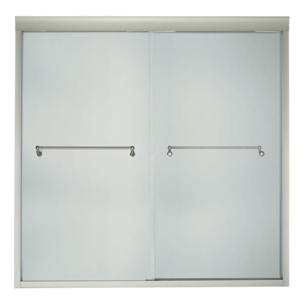 KOHLER Portrait 72 in. x 65 in. Frameless Bypass Shower Door in Brushed Nickel Finish-DISCONTINUED