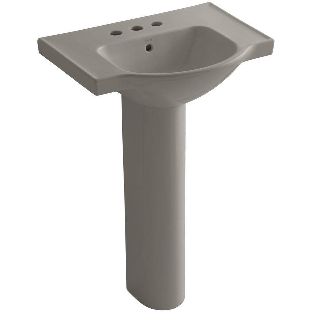 KOHLER Veer 24 in. Vitreous China Pedestal Combo Bathroom Sink in Cashmere with Overflow Drain