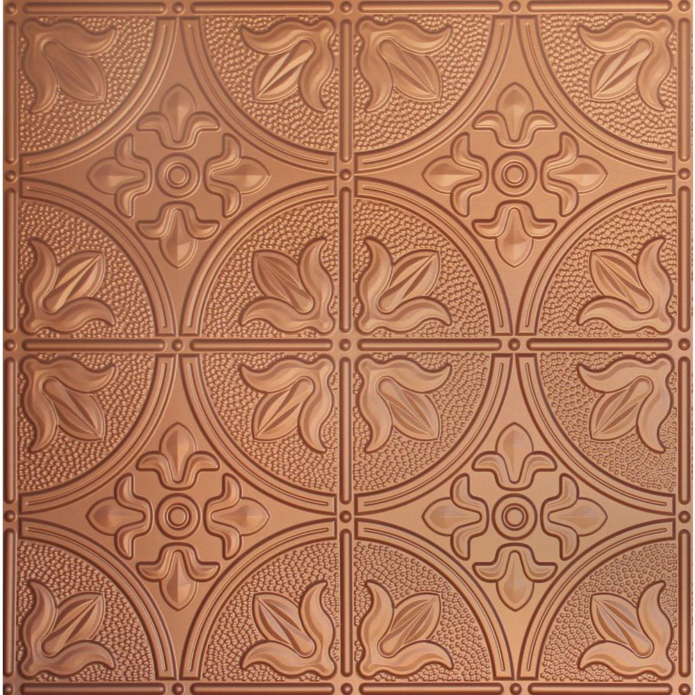 Global Specialty Products Dimensions 2 Ft X 2 Ft Copper Lay In Tin Ceiling Tile For T Grid Systems 309 21 The Home Depot