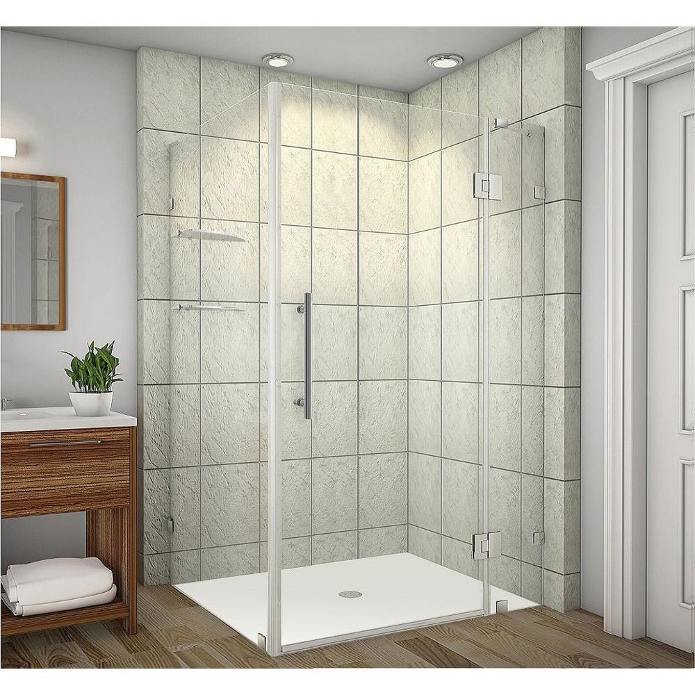 Aston Avalux GS 48 in. x 72 in. Frameless Shower Enclosure in Stainless Steel with Glass Shelves