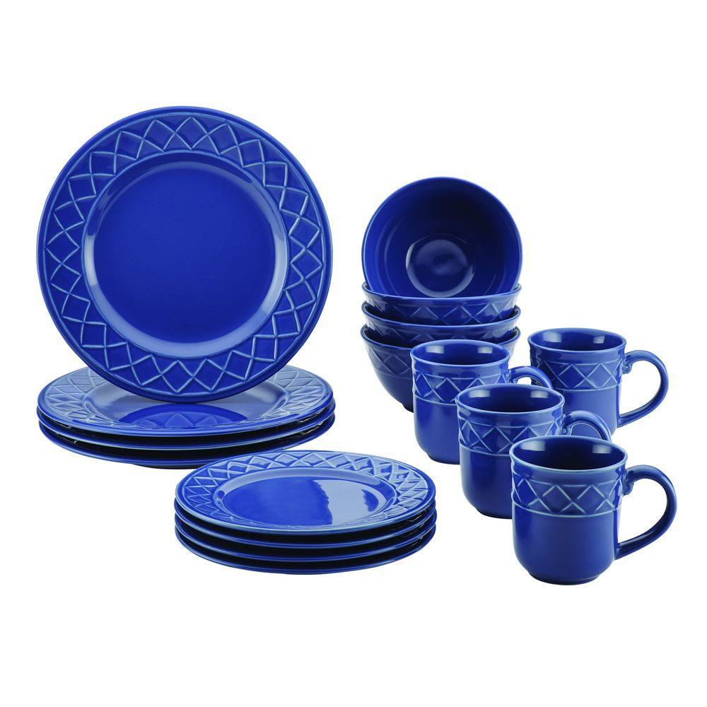 Dinnerware Savannah Trellis 16-Piece Stoneware Dinnerware Set in Cornflower Blue