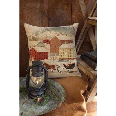 Sleigh Ride Natural Holiday Decorative Pillow