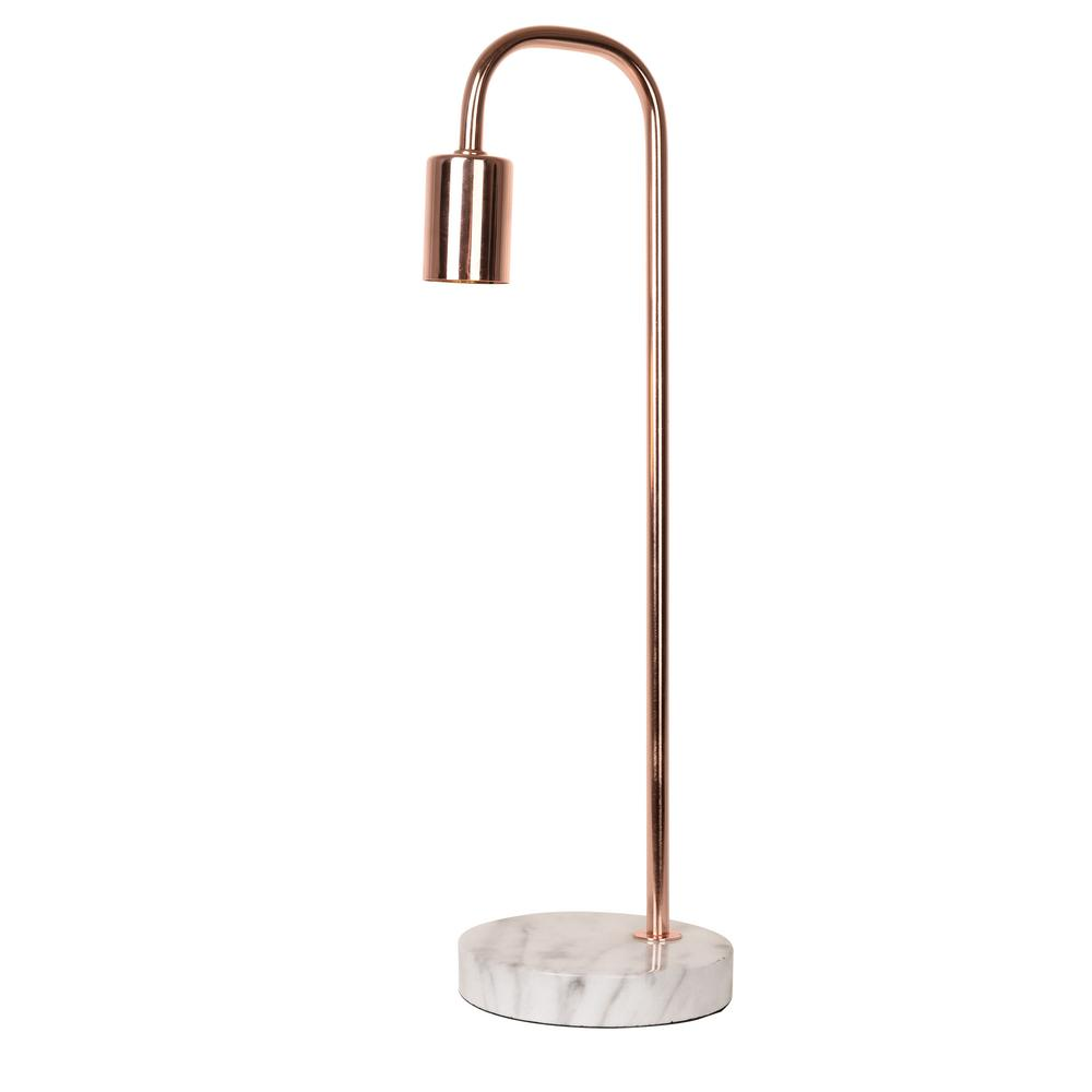 Catalina Lighting 19 In Rose Gold Table Lamp With Faux Marble Base