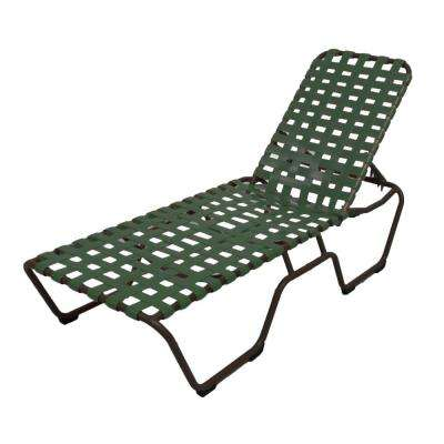Marco Island Dark Cafe Brown Commercial Grade Aluminum Patio Chaise Lounge with Green Vinyl Cross Straps (2-Pack)