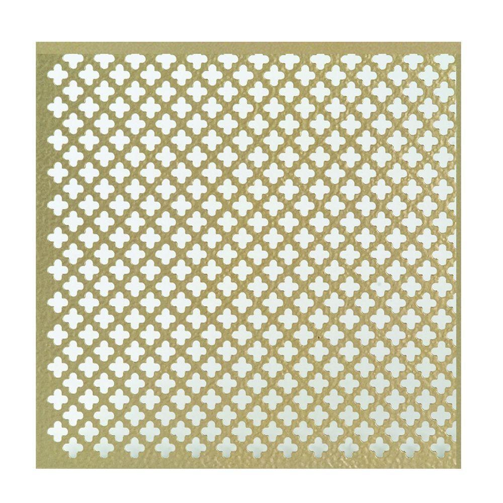 12 in. x 24 in. Cloverleaf Aluminum Sheet in Brass