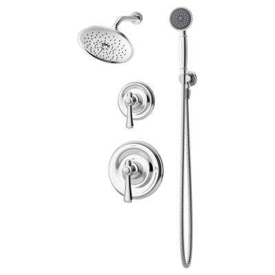 Degas 2-Handle Wall Mounted Shower Trim Kit in Chrome with Hand Shower (Valve Not Included)