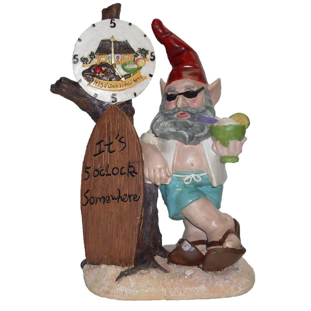 Beach Bubba Gnome Itu0027s 5 Ou0027Clock Somewhere Collectible Home And Garden  Statue 33410   The Home Depot