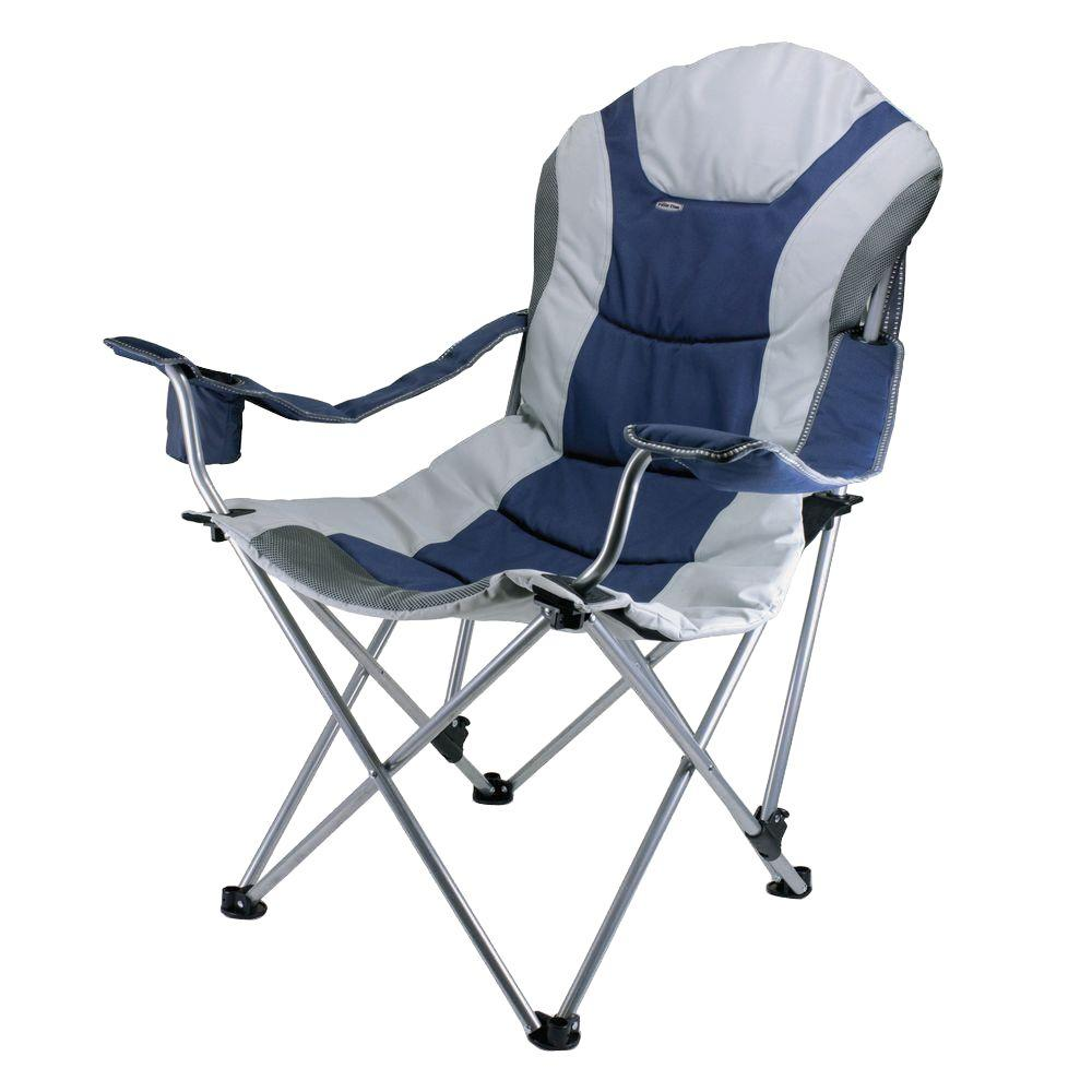 Picnic Time Reclining Camp Navy And Silver Grey Patio Chair