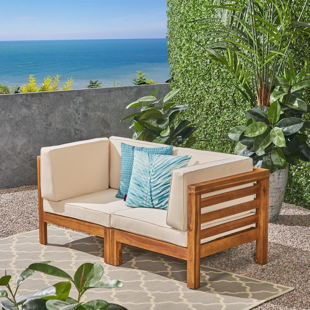 Jonah Teak Wood Outdoor Loveseat with Beige Cushions