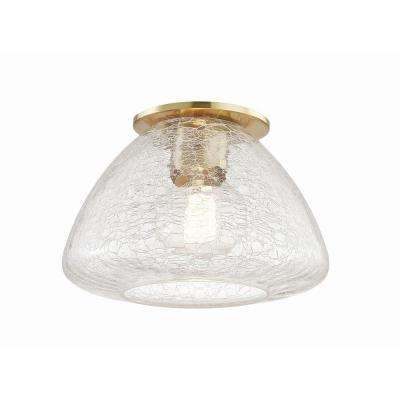 Maya 1-Light 9 in. W Aged Brass Flushmount with Clear Crackle Glass Shade