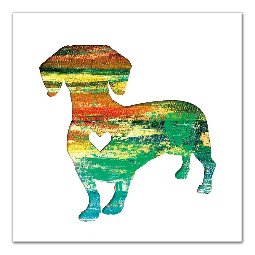 16 in. x 16 in. ''Paint Silhouette Dachshund'' Printed Ca...
