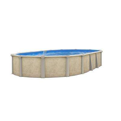 Serenity 16 ft. x 24 ft. Oval x 52 in. Deep Above Ground Pool Package with 8 in. Top Rail