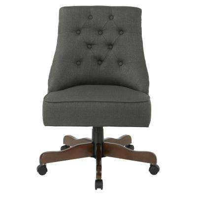 Rebecca Charcoal Fabric Tufted Office Chair with Nail-Heads with Coffee Base
