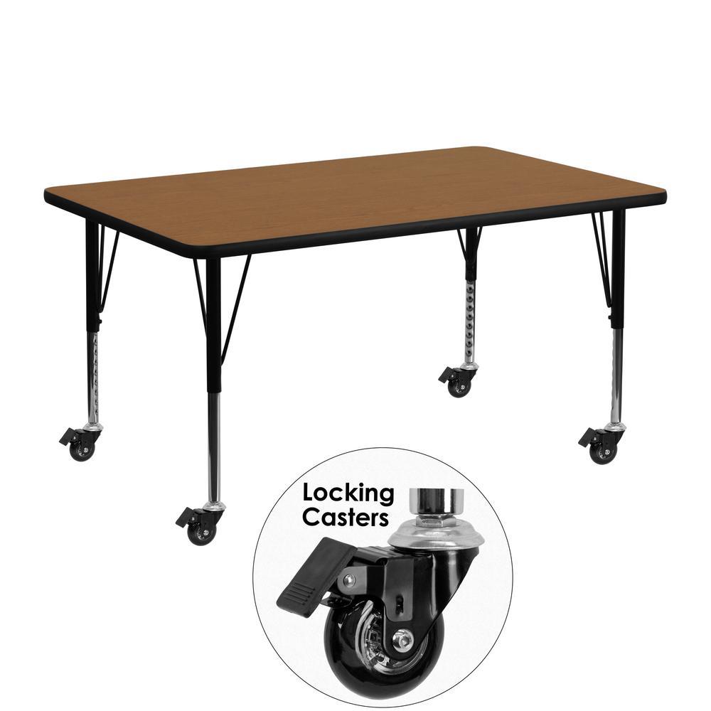 Flash Furniture Oak Kids Table XUA2448RECOKTPC