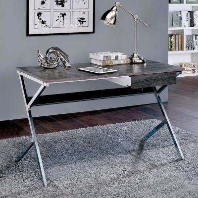 Emery Chrome Writing Desk with Drawer