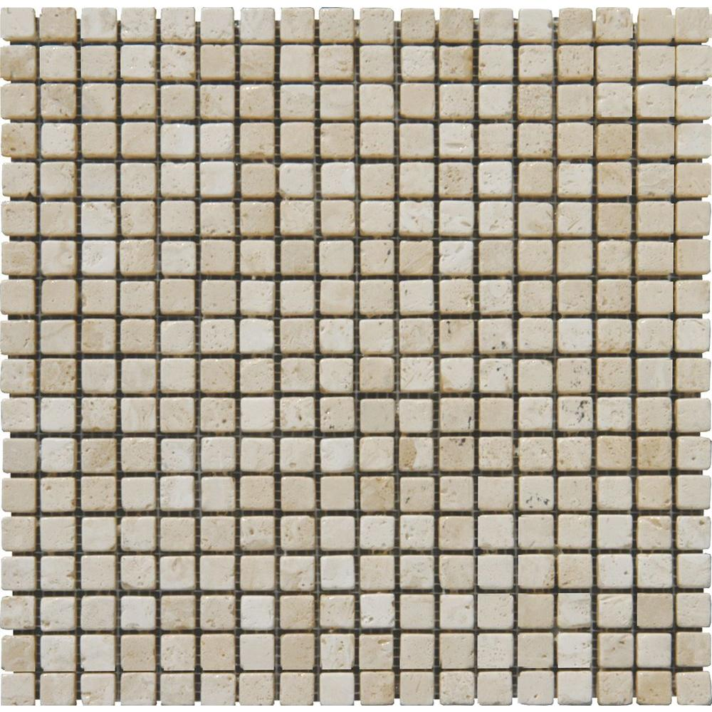 MS International Tuscany Beige 12 in. x 12 in. x 10 mm Tumbled Travertine Mesh-Mounted Mosaic Tile (10 sq. ft. / case)