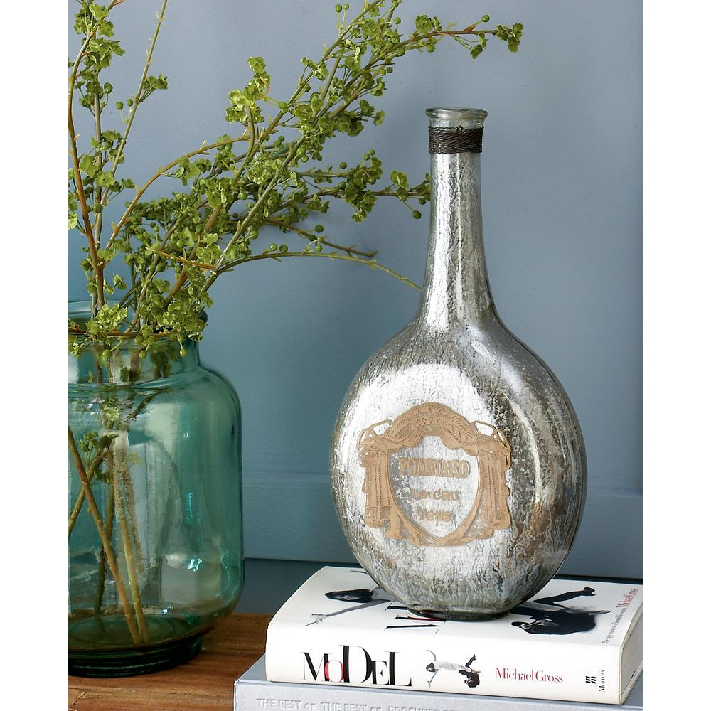 "14 in. ""Pommard"" Metallic Glass Decorative Bottle Vase"