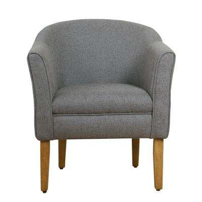 Charcoal Textured Polyester Modern Barrel Accent Chair
