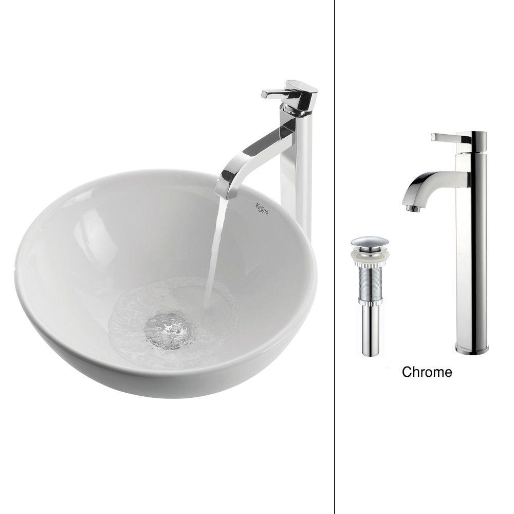KRAUS Soft Round Ceramic Vessel Sink in White with Ramus Faucet in Chrome