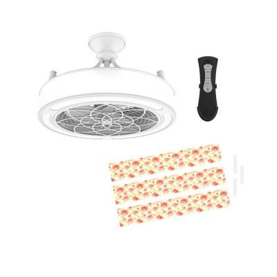 Anderson 22in. LED Indoor/Outdoor White Ceiling Fan with Remote Control and Floral Insert Panel