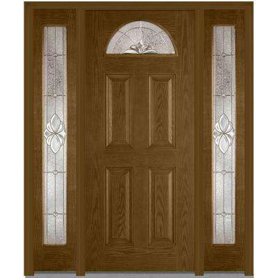 64 in. x 80 in. Heirloom Master Right-Hand 1/4-Lite Decorative Stained Fiberglass Oak Prehung Front Door with Sidelites