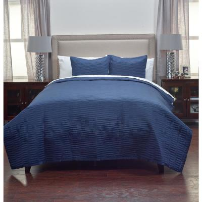 Blue Solid 3-Piece Polyester King Quilt