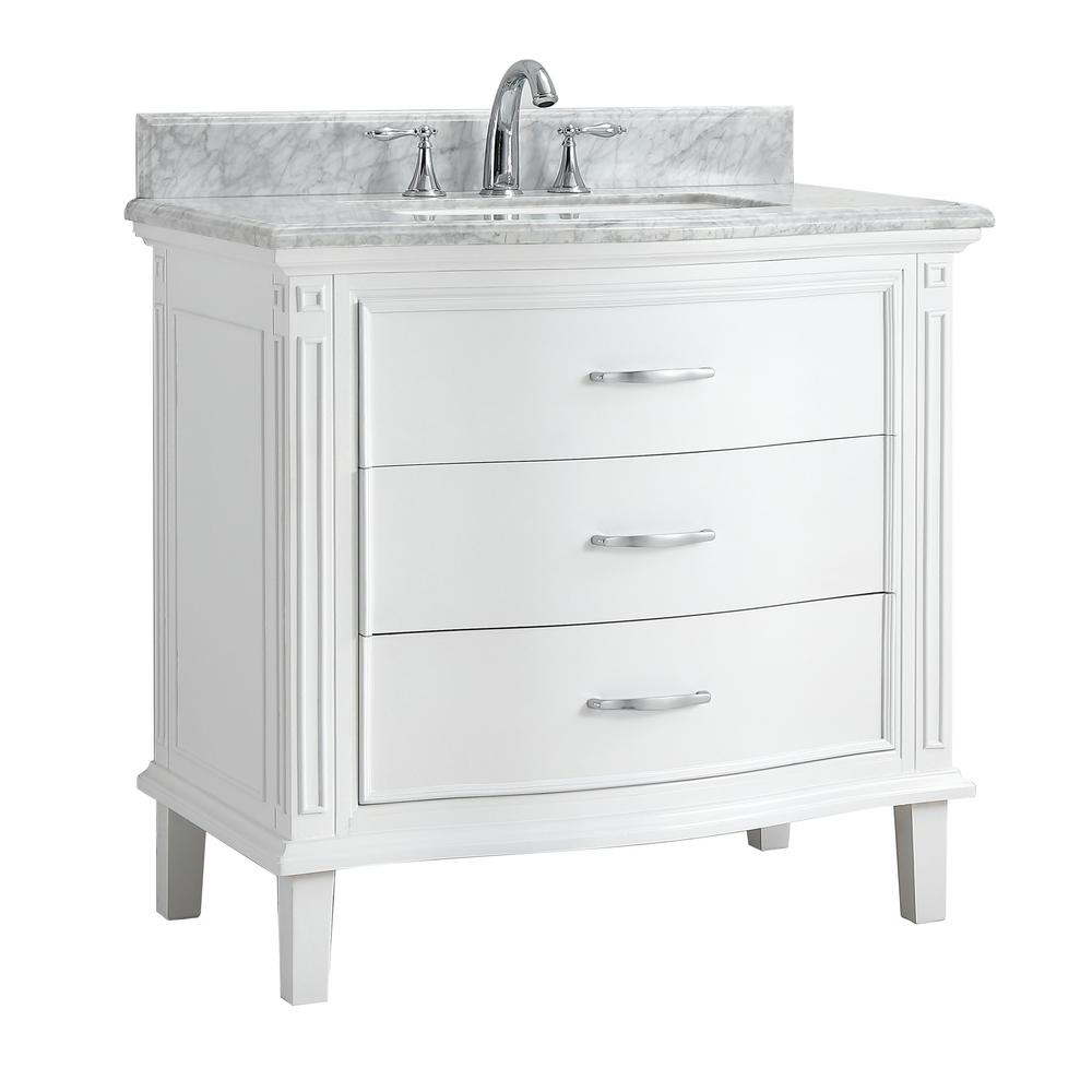 Cahaba Bath Vanity White Marble Vanity Top White Basin Product Picture