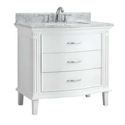 Mira 36 in. W x 22 in. D Bath Vanity in White with Carrara Marble Vanity Top with White Basin