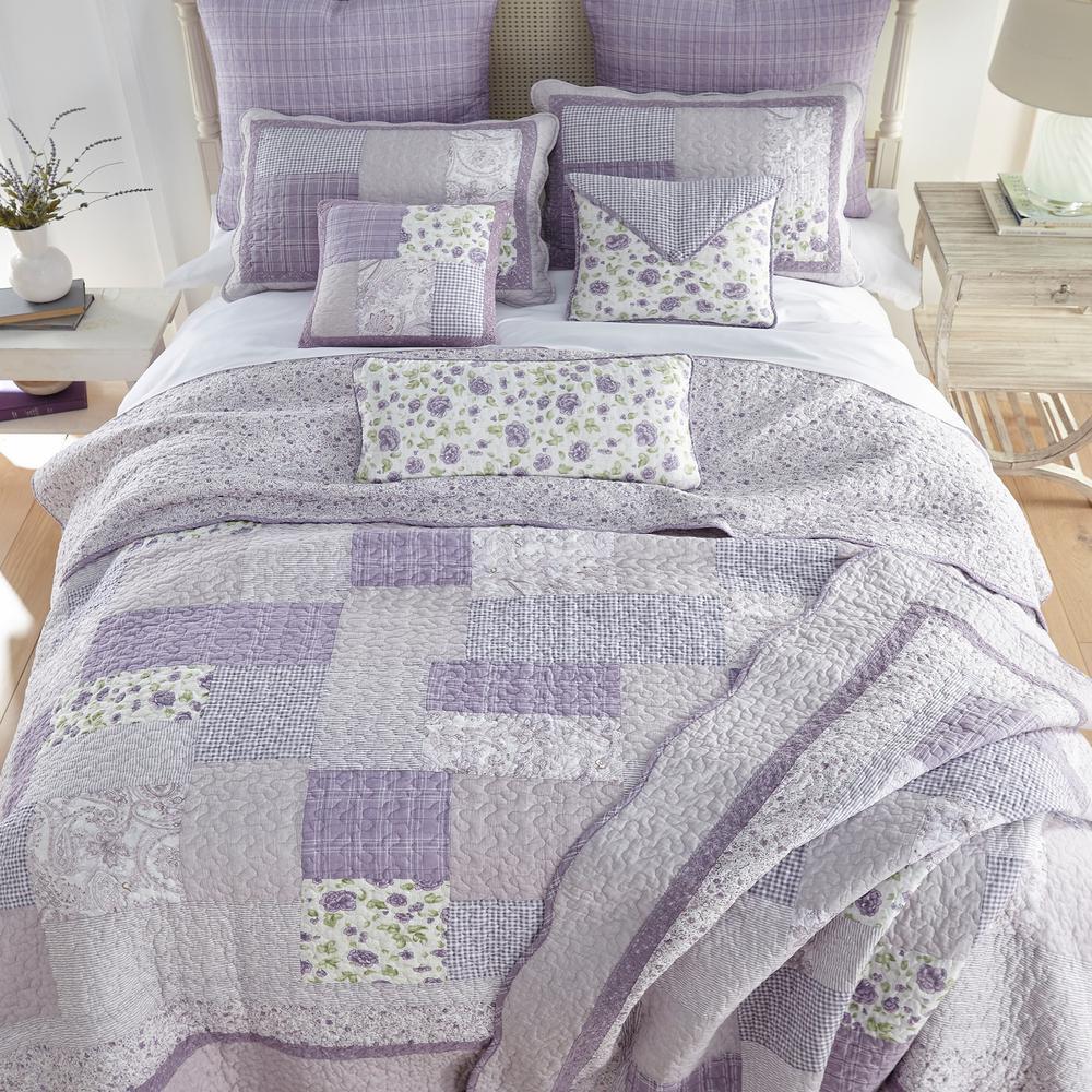 Lavender Rose 3-Piece Purple Cotton Queen Quilt Set