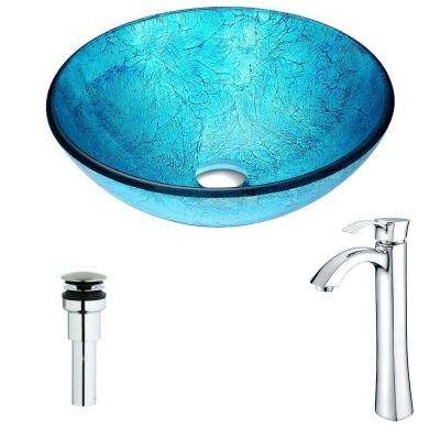 Accent Series Deco-Glass Vessel Sink in Emerald Ice with Harmony Faucet in Chrome