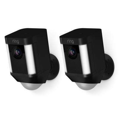Spotlight Cam Battery Outdoor Rectangle Security Wireless Standard Surveillance Camera in Black (2-Pack)