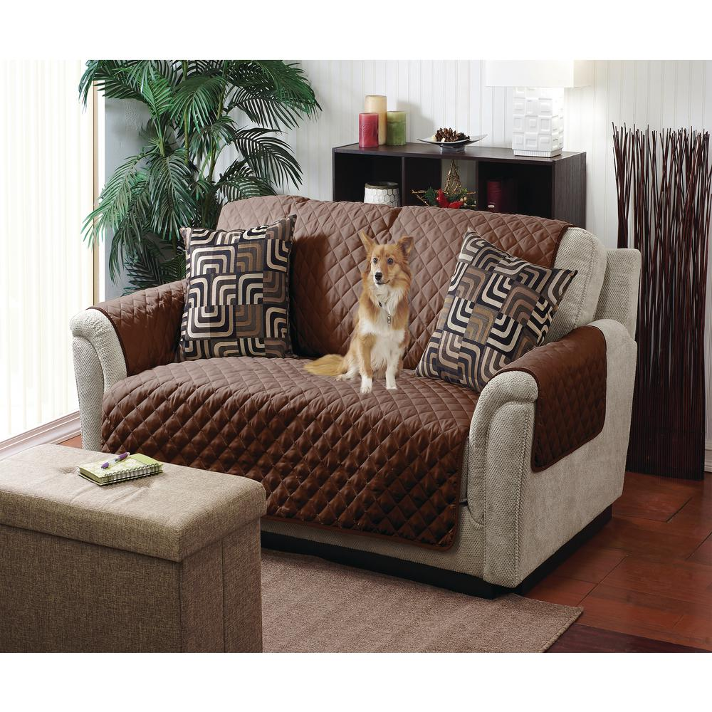 Reversible Quilted Furniture Chair/Recliner Seat Protector in Chocolate/Taupe