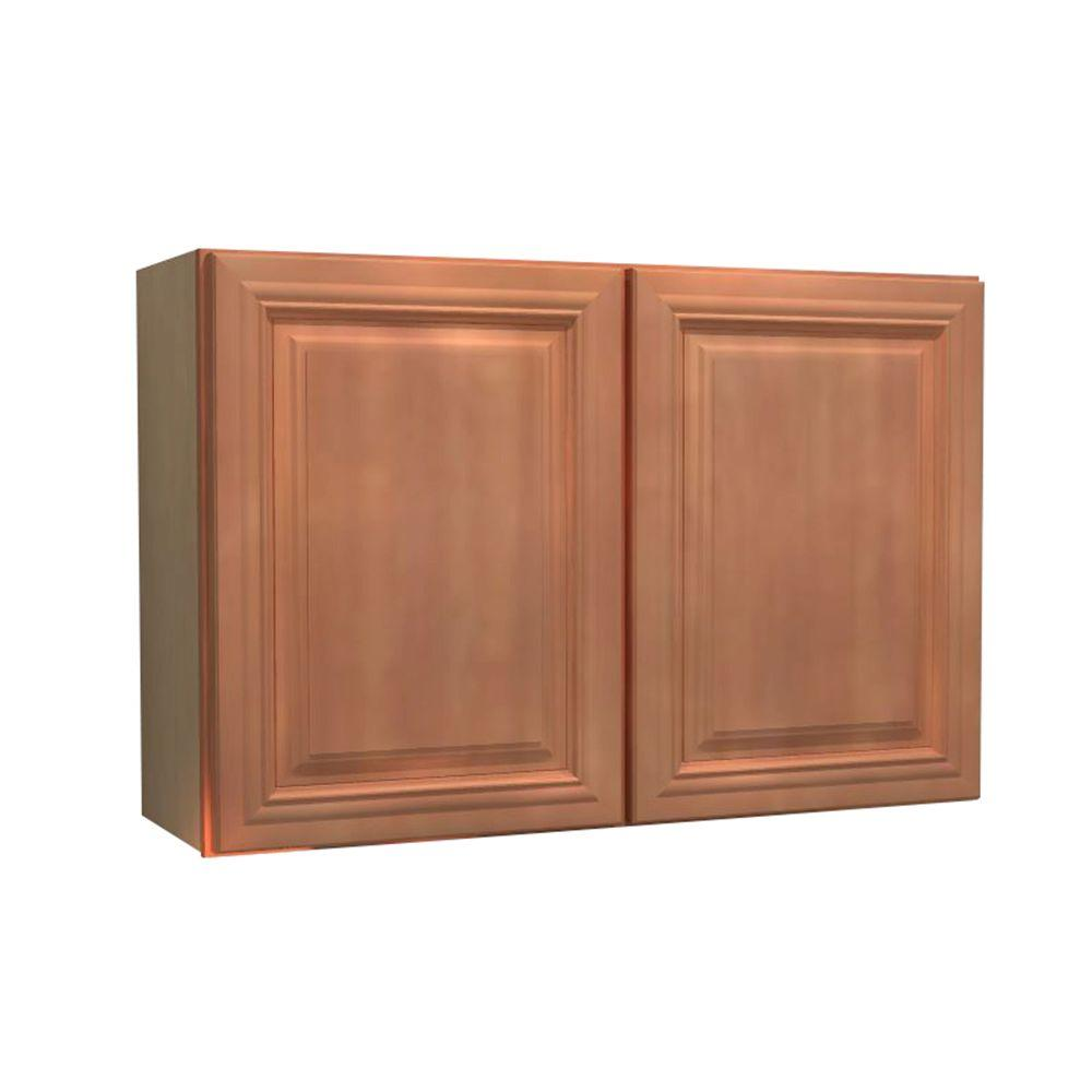 Home Decorators Collection 30x18x12 in. Dartmouth Assembled Wall Cabinet with 2 Doors in Cinnamon