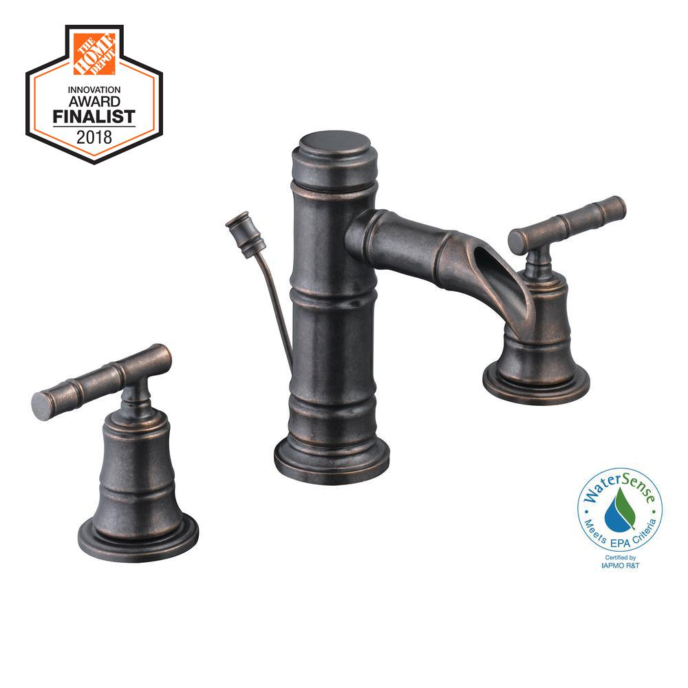 Glacier Bay Bamboo 8 in. Widespread 2-Handle Low-Arc Bathroom Faucet in Bronze