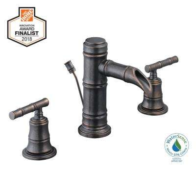 Bamboo 8 in. Widespread 2-Handle Low-Arc Bathroom Faucet in Bronze